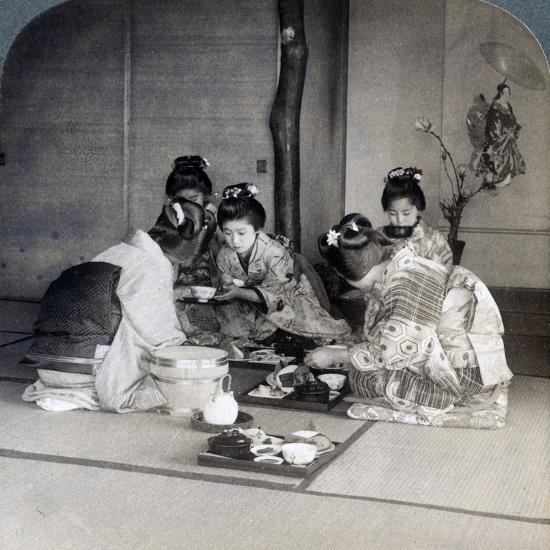 Geishas at Dinner, Tokyo, Japan, 1904-Underwood & Underwood-Photographic Print