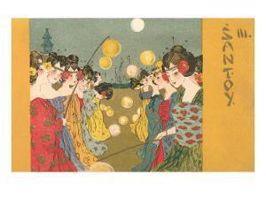 Geishas at Festival with Lanterns