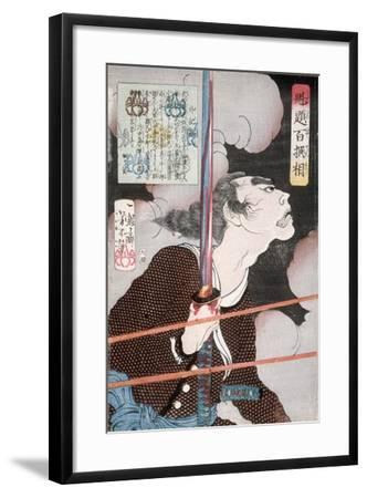 Geki Magohachi in Smoke and Rifle Fire, 1868-Tsukioka Yoshitoshi-Framed Giclee Print