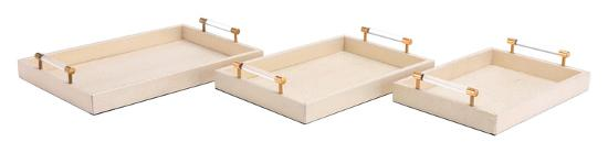 Gela Set of 3 Trays Cream--Home Accessories