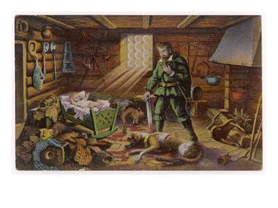 Gelert, Dog of Prince Llywelyn, Kills a Wolf--Giclee Print