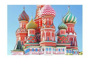 Domes Of The Famous Head Of St. Basil'S Cathedral On Red Square, Moscow, Russia by gelia78