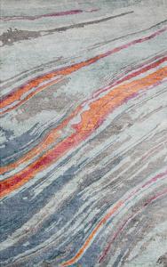 Gemini Area Rug - Teal/Burnt Orange 5' x 8'