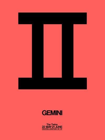Gemini Zodiac Sign Black-NaxArt-Art Print