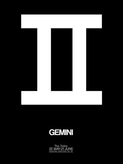 Gemini Zodiac Sign White-NaxArt-Art Print