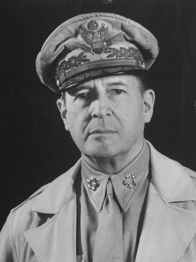 Gen. Douglas Macarthur Posing in a Serious Manner for His Portrait--Photographic Print