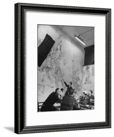 Gen. Eaken in Briefing Session by Intelligence Officer Lt. Parton, Uses Pointer on Huge Map-Margaret Bourke-White-Framed Premium Photographic Print