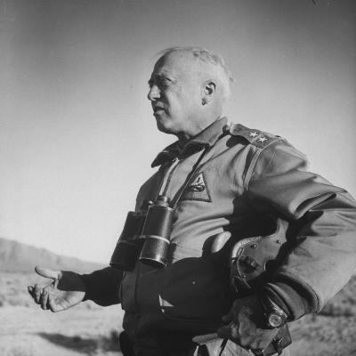 Gen. George S. Patton Jr. Observing Training Maneuvers in the Desert--Photographic Print