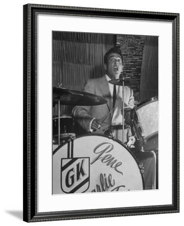 Gene Krupa, American Drummer and Jazz Band Leader, Playing Drums at the Club Hato on the Ginza-Margaret Bourke-White-Framed Premium Photographic Print