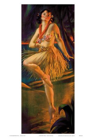 Firelight Hula, Hawaiian Pin-up Girl, c.1920s