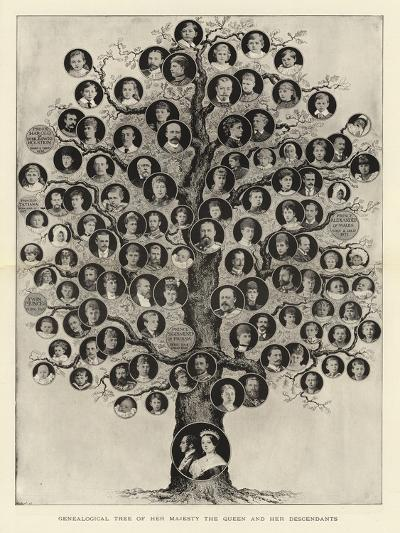 Genealogical Tree of Her Majesty the Queen and Her Descendants--Giclee Print