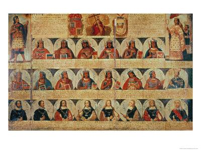 Genealogy of the Inca Rulers and Successors: Manco Capac to Ferdinand VI of Spain, c.1750--Giclee Print