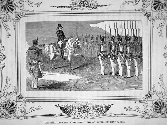 General Andrew Jackson Speaks to Tennessee Militia Before the Battle of Horsehoe Bend, 1814, 1847--Giclee Print