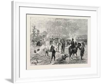 General Crook's Camp at Whitewood Creek: Bringing in a Wounded Soldier on a Travau--Framed Giclee Print