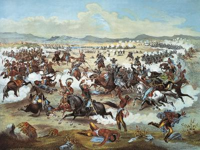 General Custer's Last Stand at Battle of Little Bighorn--Giclee Print
