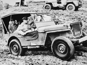 General Douglas Macarthur, Riding a Jeep in Leyte on His Return to the Philippines, October 1944
