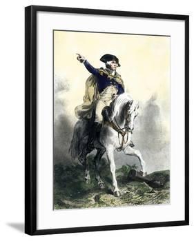 General George Washington in Battle on Horseback, Revolutionary War-null-Framed Giclee Print