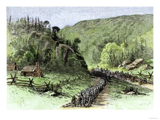 General James Longstreet's March through Thoroughfare Gap at the Second Battle of Bull Run, c.1862--Giclee Print