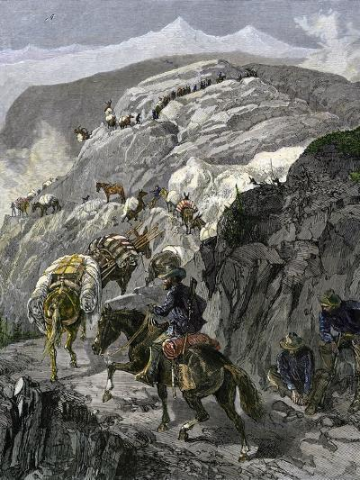 General Oliver Otis Howard Pursuing the Nez Perce Tribe on the Dead Mule Trail in Idaho, c.1877--Giclee Print