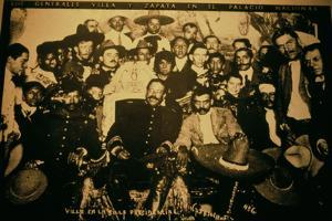 General Pancho Villa (1878-1923) and Emiliano Zapata with Comrades in the National Palace, Mexico?