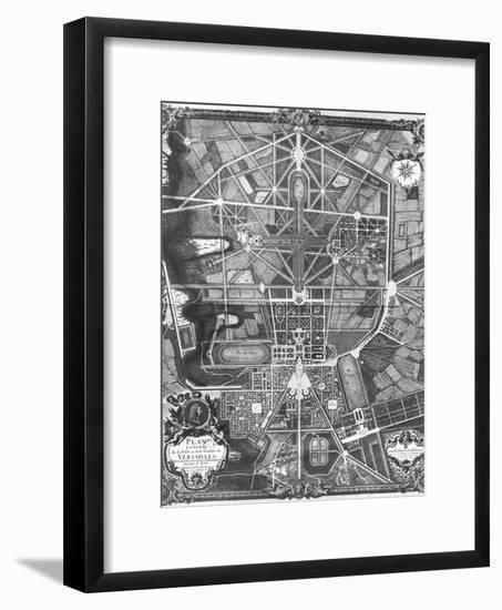General Plan of the Town and Chateau of Versailles, with Its Gardens, Forests and Fountains-Pierre Lepautre-Framed Giclee Print