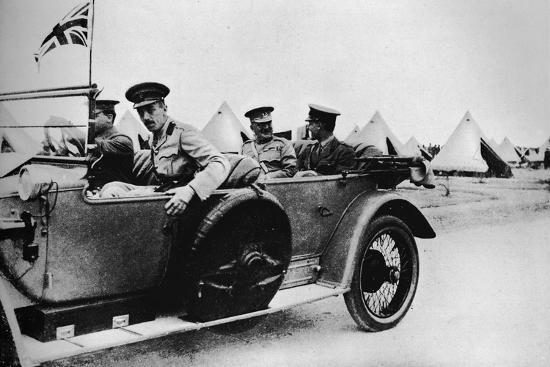 'General Sir John Maxwell, commander of Egyptian troops, motoring through one of the camps', 1915-Unknown-Photographic Print