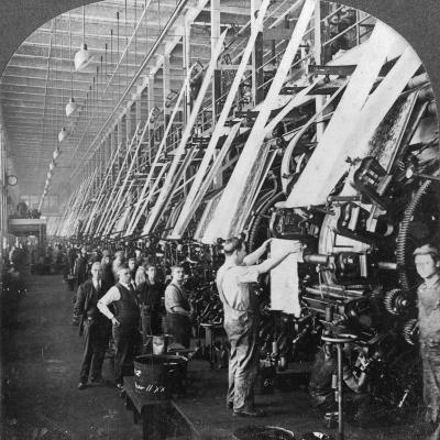 General View of a Large Printing Room in a Cotton Mill, Lawrence, Massachusetts, USA--Photographic Print