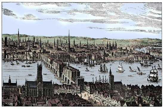 General view of London, 1666, (1909).-Unknown-Giclee Print
