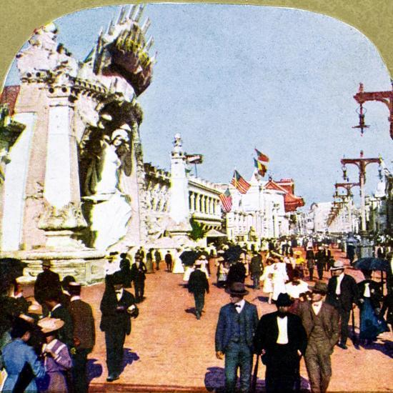 General view of the Pike at the World Fair, St Louis, Missouri, USA, 1904. Artist: Unknown-Unknown-Giclee Print