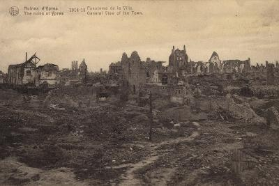 General View of the Ruins of Ypres, Belgium, World War I--Photographic Print