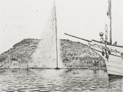 Geneva, Fountain and Bow of Pleasure Boat-Vincent Booth-Giclee Print
