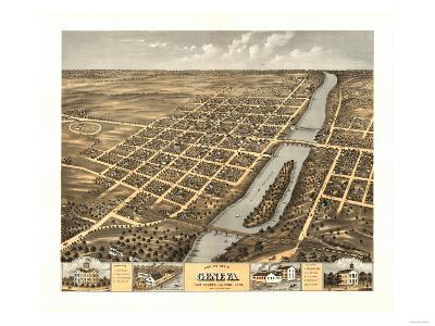 Geneva, Illinois - Panoramic Map-Lantern Press-Art Print