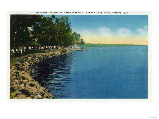 Geneva, New York - Seneca Lake Park View of Shoreline, Pavilion, and Swimmers-Lantern Press-Art Print