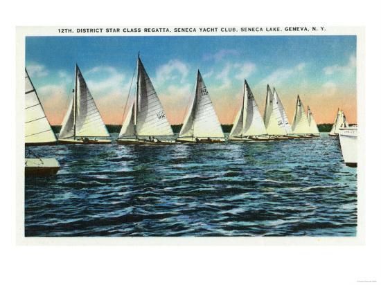 Geneva, New York - Seneca Yacht Club, 12th District Star Class Regatta Scene-Lantern Press-Art Print