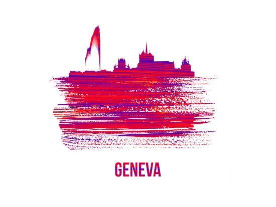 Geneva Skyline Brush Stroke - Red-NaxArt-Art Print