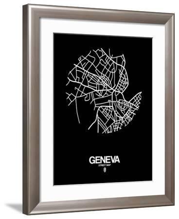 Geneva Street Map Black-NaxArt-Framed Art Print
