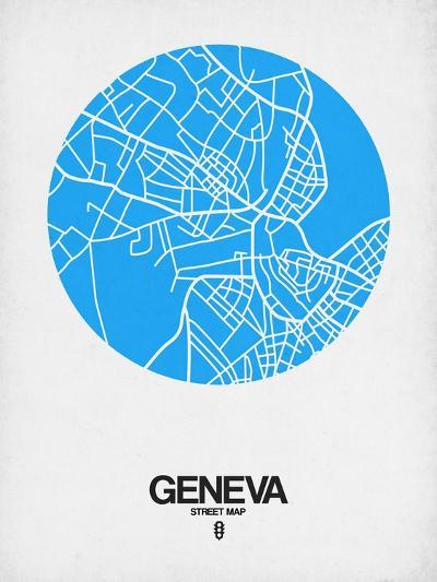 Geneva Street Map Blue-NaxArt-Art Print
