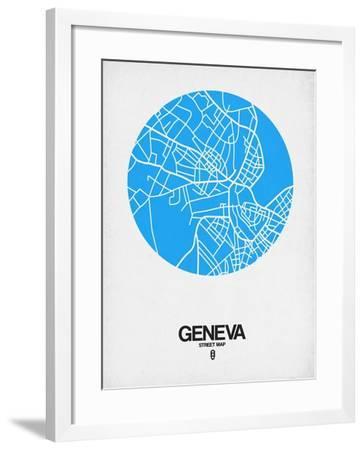 Geneva Street Map Blue-NaxArt-Framed Art Print