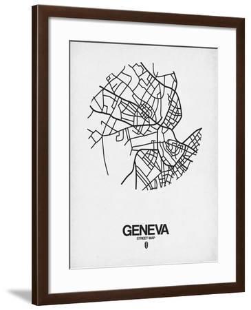 Geneva Street Map White-NaxArt-Framed Art Print