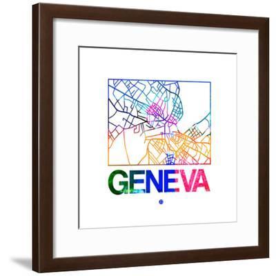 Geneva Watercolor Street Map-NaxArt-Framed Premium Giclee Print