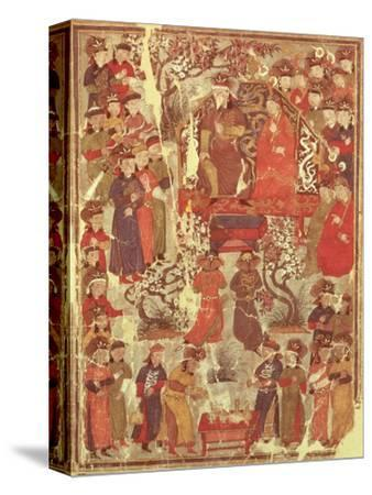 Genghis Khan and His Wife Bortei Enthroned Before Courtiers, by Rashid Ad-Din (1247-1318)