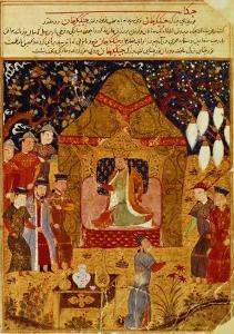 Genghis Khan in his tent by Rashid al-Din