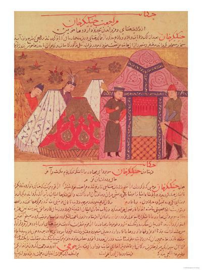 Genghis Khan Outside His Tent, from a Book by Rashid Ad-Din (1247-1318)--Giclee Print