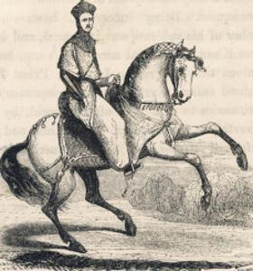 Genghis Khan (Variously Spelt) Mongol Conqueror on His Horse