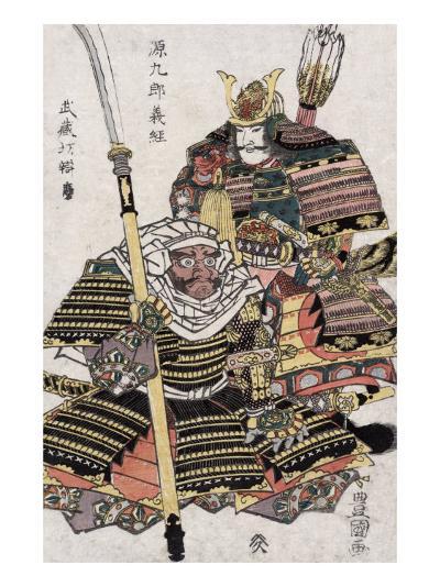 Genkuro Yoshitsune and Musashibo Benkei, Japanese Wood-Cut Print-Lantern Press-Art Print
