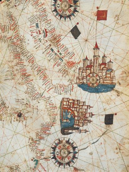 Genoa and Venice, from the Nautical Atlas by Joan Martines, 1571--Giclee Print