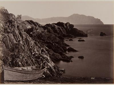 Genova: Fishing Boat on the Beach of Nevi, 1870-80-August Alfred Noack-Photographic Print