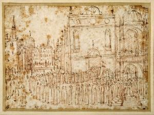 A Venetian Procession Moving from a Scuola to a Flanking Church by Gentile Bellini