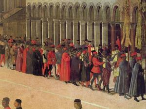 Procession in St. Mark's Square, Detail of Musicians, 1496 by Gentile Bellini