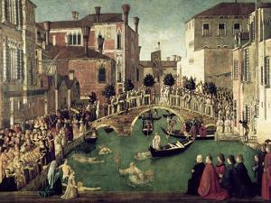 The Miracle of the Cross on San Lorenzo Bridge, 1500 by Gentile Bellini